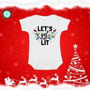 Let's Get Lit Christmas Onesie
